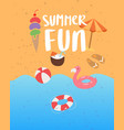 summer fun on sea beach banner with ocean sand vector image vector image