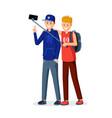 teenagers taking photo selfie vector image