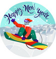 Template new years card mouse - snowboarder