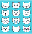 white cat faces with different emotions vector image vector image