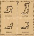 woman shoes doodle set vector image vector image