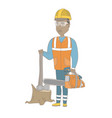 Young african-american lumberjack with chainsaw vector image