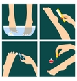 Icons set in flat design style with woman feet vector image