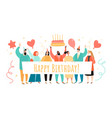 birthday greeting banner with cartoon characters vector image vector image