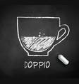 black and white sketch doppio coffee vector image vector image
