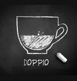black and white sketch of doppio coffee vector image vector image