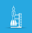 blue launch site with rocket spaceport icon vector image vector image
