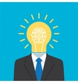 businessman with light bulb head vector image vector image