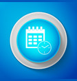 calendar and clock icon on blue background vector image vector image