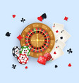 casino banner with tokens roulette wheel cards vector image vector image