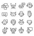 chat bot face icon line art set vector image vector image