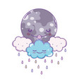 clouds and moon cute cartoons vector image