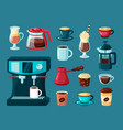 coffee mugs teapot and cups hot energy drinks vector image vector image