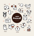 collection of hand draw animal icon doodle style vector image