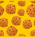 cookies pattern biscuit with chocolatet drops vector image vector image