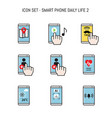 daily life icon collection with smartphone mobile vector image