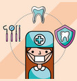 dentist girl in uniform mask tools tooth vector image vector image