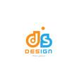 ds d s orange blue alphabet letter logo vector image vector image
