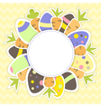 Easter eggs and carrots pattern on a yellow vector image