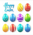 easter eggs colored set spring holidays in april vector image vector image