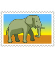 Elephant on stamp vector image vector image