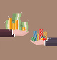 exchange of cash money and casino chips vector image vector image