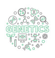genetics round with dna line vector image vector image