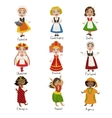 Girls In National Costumes Set vector image vector image