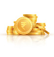 gold rupee coins indian money stacked golden vector image vector image