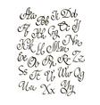 handwritten calligraphic font vector image vector image