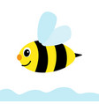 happy cartoon bee flying through sky a simple vector image