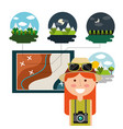 happy woman traveler vacations map differents vector image vector image