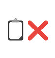 icon concept of clipboard with blank paper and x vector image vector image