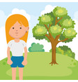 little girl on park character vector image