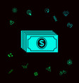 money banknotes stack with dollar icon graphic vector image