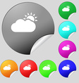 Partly Cloudy icon sign Set of eight multi colored vector image vector image