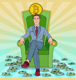 pop art businessman sitting on throne with bitcoin vector image vector image