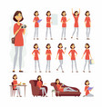 pretty woman - cartoon people character set vector image