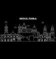 puebla silhouette skyline mexico - puebla vector image vector image