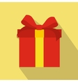 Red flat present box icon vector image vector image