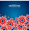 red tech gears mechanism on blue background vector image vector image