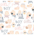 seamless pattern with cute babies on white vector image