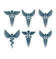 set of caduceus symbols created using bird wings vector image