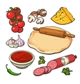 Set of sketch style pizza ingredients vector image vector image