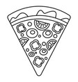 slice pepper pizza icon outline style vector image