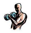 strong athletic man raises heavy dumbbells with vector image