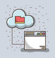 technology window with file inside of cloud vector image vector image