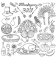 Thanksgiving dayDoodle iconsLinear set vector image vector image
