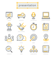 Thin line icons set present vector image