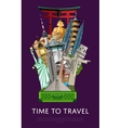 Time to travel banner with famous attractions vector image